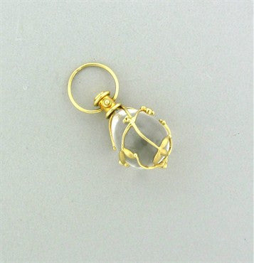 thumbnail image of Estate Temple St. Clair 18K Gold Diamond Crystal Vine Amulet Pendant