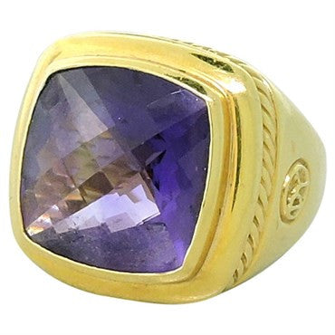 image of David Yurman Albion Amethyst 18K Gold Ring
