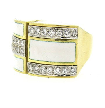 thumbnail image of 1970s Gold White Enamel Diamond Cocktail Ring