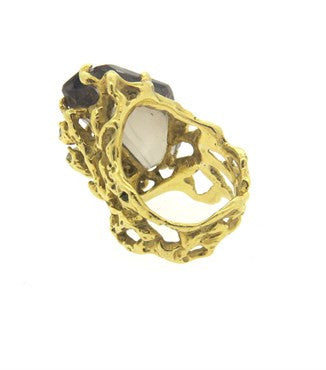 thumbnail image of Arthur King Smokey Topaz Diamond 18k Gold Free Form Ring