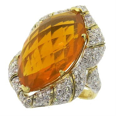 image of Impressive Mexican Fire Opal Diamond Gold Cocktail Ring