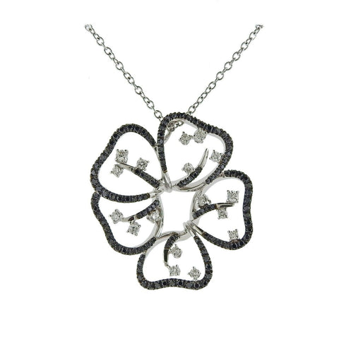 image of Stefan Hafner Gold Black White Diamond Flower Pendant Necklace