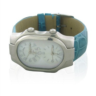 thumbnail image of Philip Stein Teslar Dual Time Mother Of Pearl Dial Ladies Watch