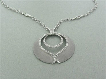 image of Charriol 18K White Gold Diamond Pendant Necklace