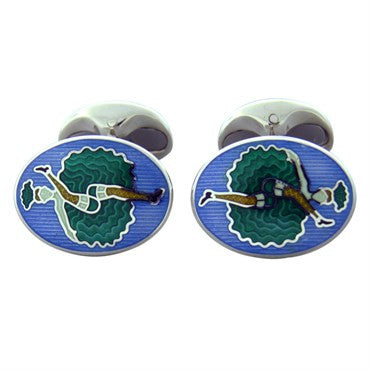 image of New Deakin & Francis Sterling Silver Can Can Girl Cufflinks