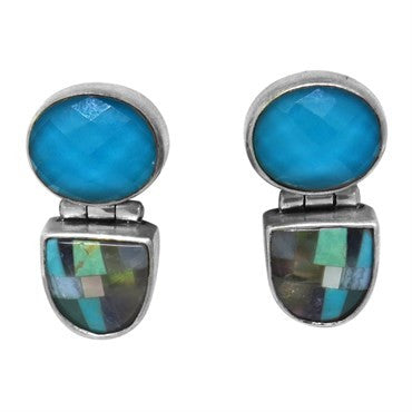 thumbnail image of Stephen Dweck Sterling Silver Inlay Gemstone Earrings