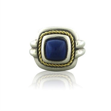 image of Estate Tiffany & Co Sterling Silver 18K Gold Lapis Ring