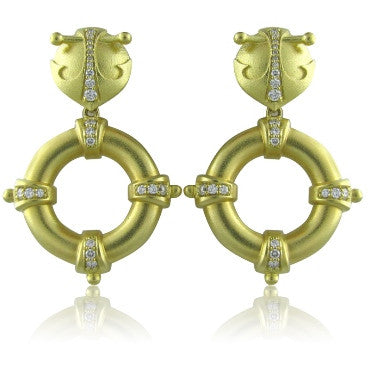 thumbnail image of New Paul Morelli 18k Gold Round Diamond Earrings
