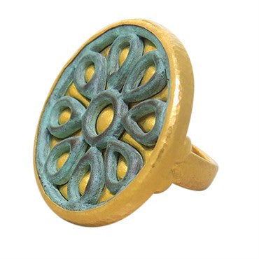 thumbnail image of Gurhan 24k Gold Brass Flower Large Ring