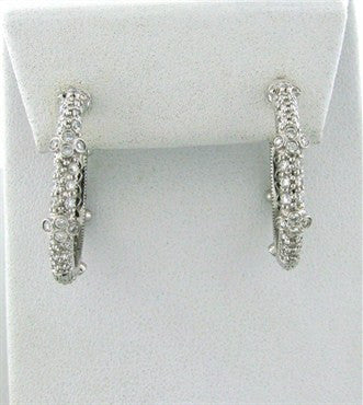 thumbnail image of Judith Ripka Gothic 18k Gold 2.60ctw Diamond Hoop Earrings