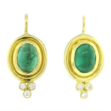 thumbnail image of Temple St. Clair Emerald Diamond 18k Gold Cluster Earrings
