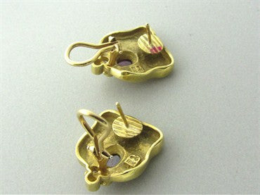 thumbnail image of Seidengang 18K Yellow Gold Diamond Pink Tourmaline Earrings