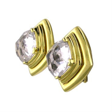 thumbnail image of Estate David Webb 18k Gold Crystal Earrings