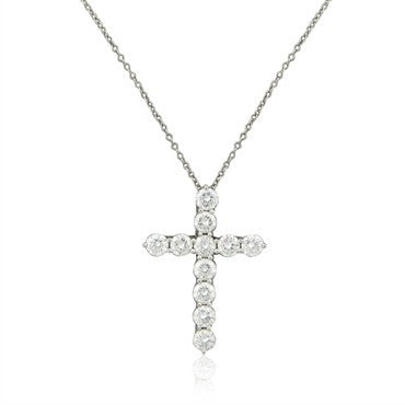 thumbnail image of Tiffany & Co Platinum 1.75ctw Diamond Cross Pendant Necklace