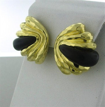 thumbnail image of Henry Dunay 18K Yellow Gold Wood Hammered Finish Earrings