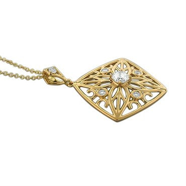 thumbnail image of New Hearts On Fire Potpourri Square Open Back Diamond Pendant Necklace