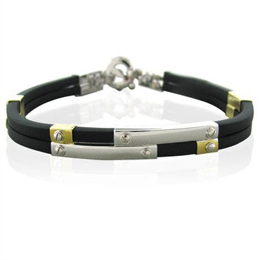 image of New Roberto Coin 18k Gold Black Rubber Bracelet