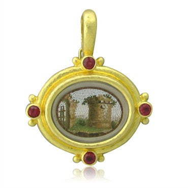 image of Elizabeth Locke 19K Gold Ruby Micro Mosaic Mother Of Pearl Pendant