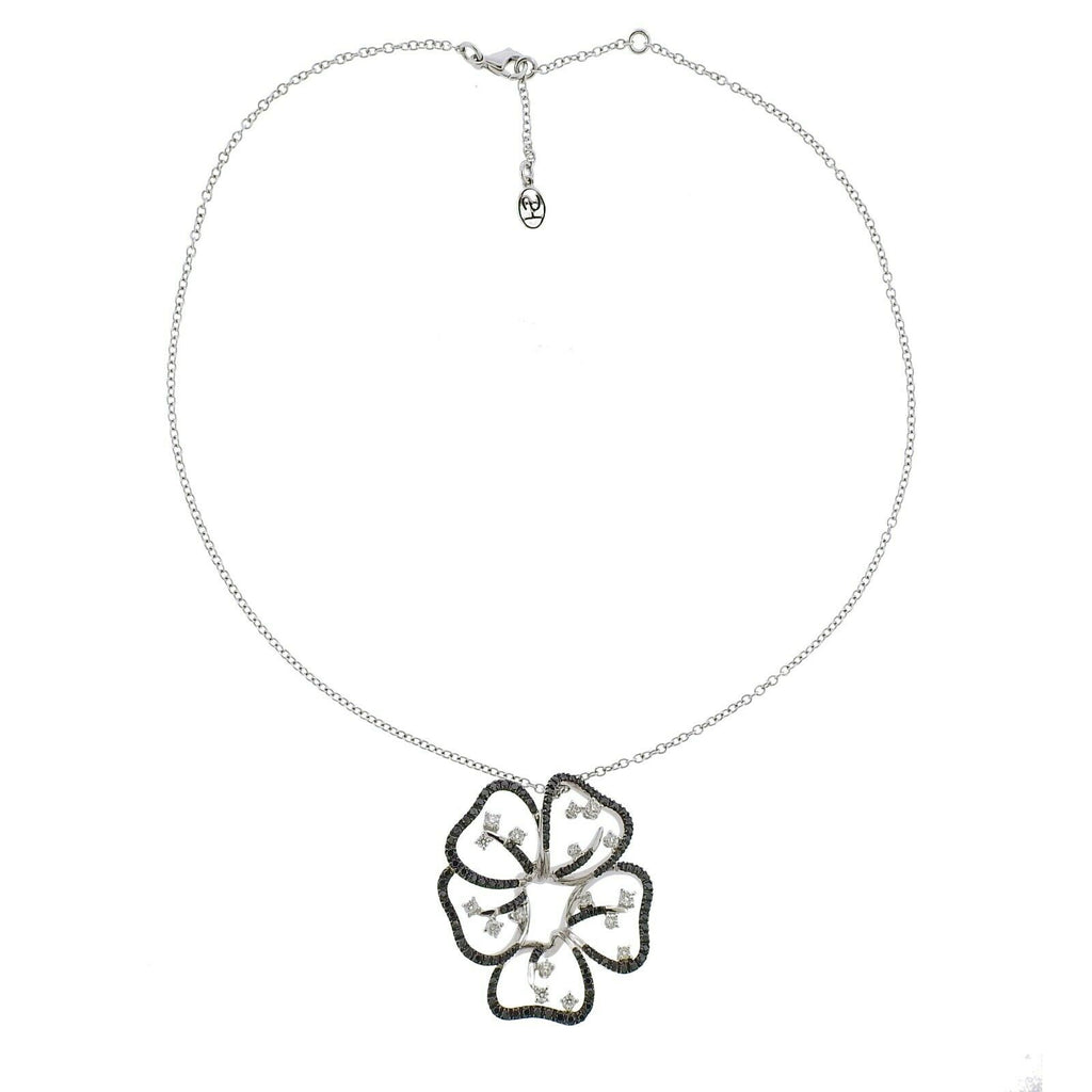 thumbnail image of Stefan Hafner Gold Black White Diamond Flower Pendant Necklace