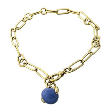 thumbnail image of New Pomellato Luna 18k Gold Chalcedony Pendant Link Necklace