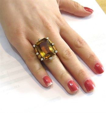 thumbnail image of 1960s Large 23ct Citrine Diamond 18k Gold Ring