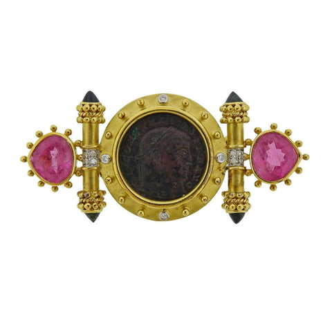 image of Gold Tourmaline Coin Diamond Brooch Pin