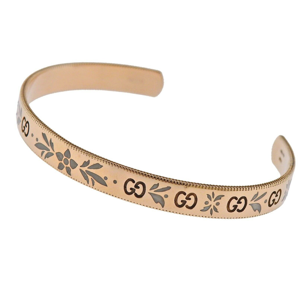 thumbnail image of Gucci Icon Blossom Rose Gold Enamel Cuff Bracelet Sz 16