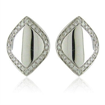 image of New Salvini Times Square 18K White Gold Diamond Earrings