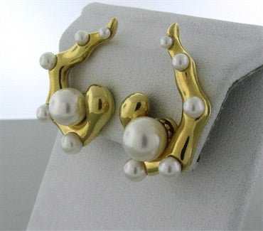 thumbnail image of Seaman Schepps 18K Yellow Gold Pearl Earrings