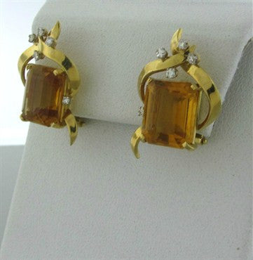 thumbnail image of Vintage H. Stern 18K Yellow Gold Citrine Diamond Earrings