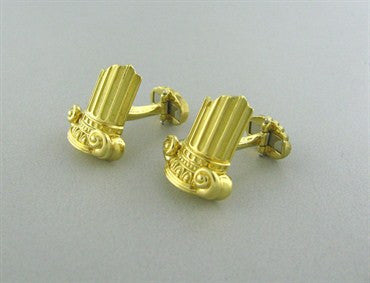 image of Henry Dunay 18K Yellow Gold Ancient Column Cufflinks