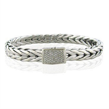 image of Estate John Hardy Sterling Silver 18K Gold Diamond Mens Bracelet