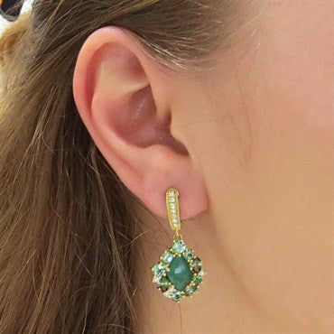thumbnail image of Judith Ripka 18K Gold Green Chalcedony Gemstone Diamond Drop Earrings