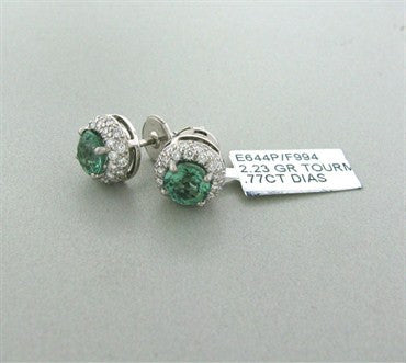 thumbnail image of Gumuchian Halo Platinum 0.77ctw Diamond 2.23ct Tourmaline Earrings