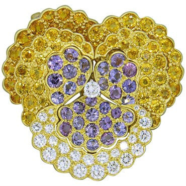 image of Jean Vitau Yellow Sapphire Diamond 18k Gold Pansy Flower Pendant