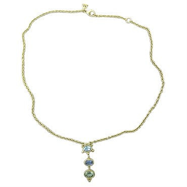 thumbnail image of Temple St. Clair 18k Gold Aquamarine Sapphire Peridot Pendant Necklace