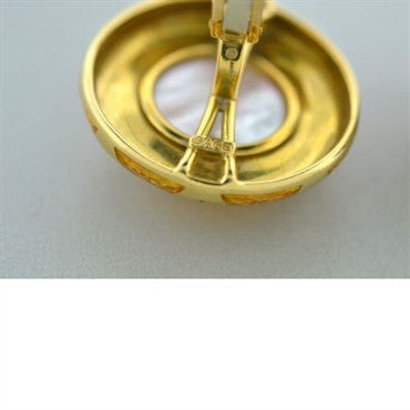 thumbnail image of Elizabeth Cage 18k Gold Carved Gemstone Earrings