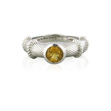 image of Estate Judith Ripka Sterling Silver Canary Crystal Ring