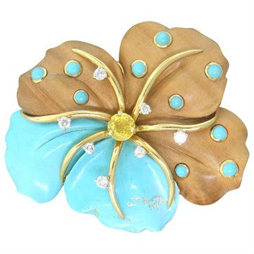 image of Seaman Schepps Wood Turquoise Sapphire Diamond Gold Flower Brooch Pin