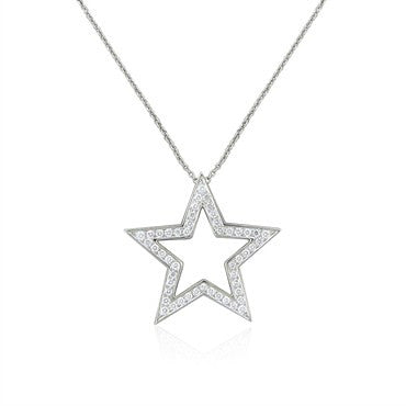 image of Tiffany & Co Platinum Diamond Star Pendant Necklace