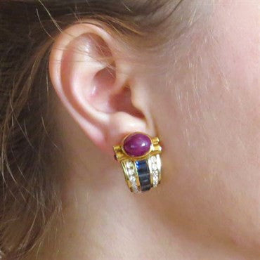 image of 1980s Gold Ruby Cabochon Sapphire Diamond Earrings