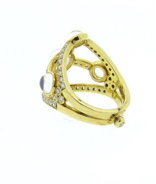 thumbnail image of Temple St. Clair Diamond Moonstone 18k Gold Ring