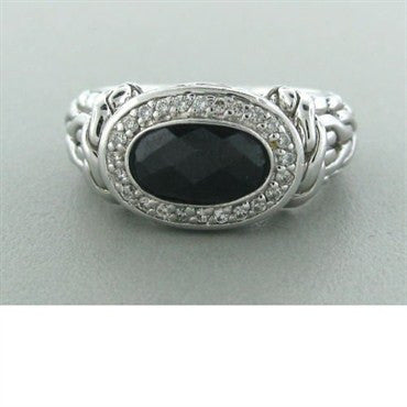image of John Hardy Sterling Silver Onyx Diamond Ring