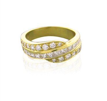 thumbnail image of New Gumuchian 18K Gold Round & Square Diamond Swirl Ring
