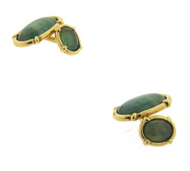 thumbnail image of Oval Jade Gold Cufflinks