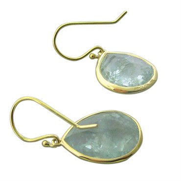 thumbnail image of New Ippolita 18K Gold Aquamarine Rock Candy Teardrop Earrings