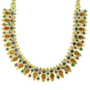 thumbnail image of Buccellati Gold Citrine Emerald Iolite Ruby Necklace