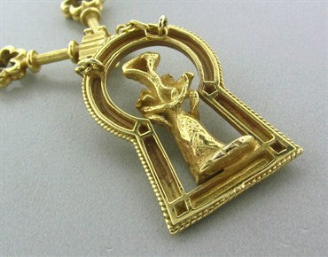 image of Rare Salvidore Dali Ama De Llaves 18K Gold Diamond Pendant Necklace