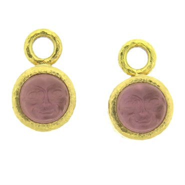 image of Elizabeth Locke 19k Gold Venetian Glass Intaglio Earrings Charms