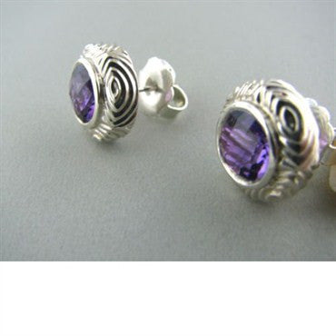 thumbnail image of Krypell Sterling 14k Gold Round Amethyst Earrings